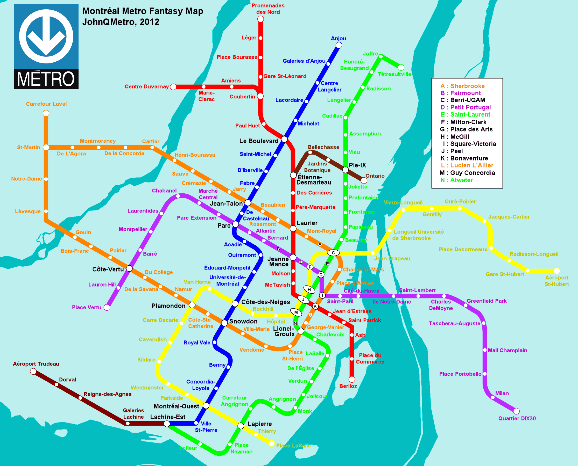 Montreal Canada Metro Map Fantasy Metro Maps